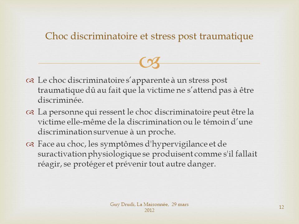 Le choc discriminatoire sapparente à un stress post traumatique dû au fait que la victime ne sattend pas à être discriminée. La personne qui ressent l