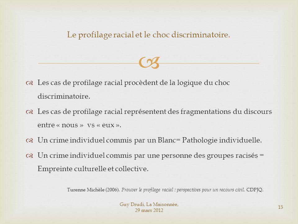 Guy Drudi, La Maisonnée, 29 mars 2012 15 Le profilage racial et le choc discriminatoire. Les cas de profilage racial procèdent de la logique du choc d