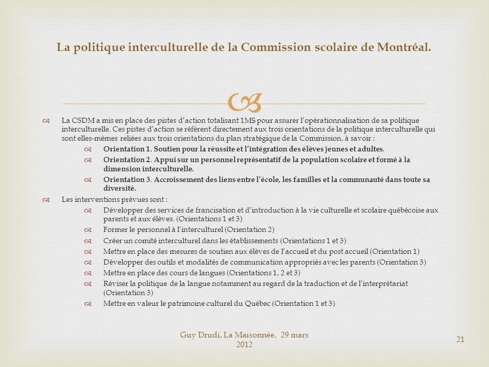 La CSDM a mis en place des pistes daction totalisant 1M$ pour assurer lopérationnalisation de sa politique interculturelle. Ces pistes daction se réfè