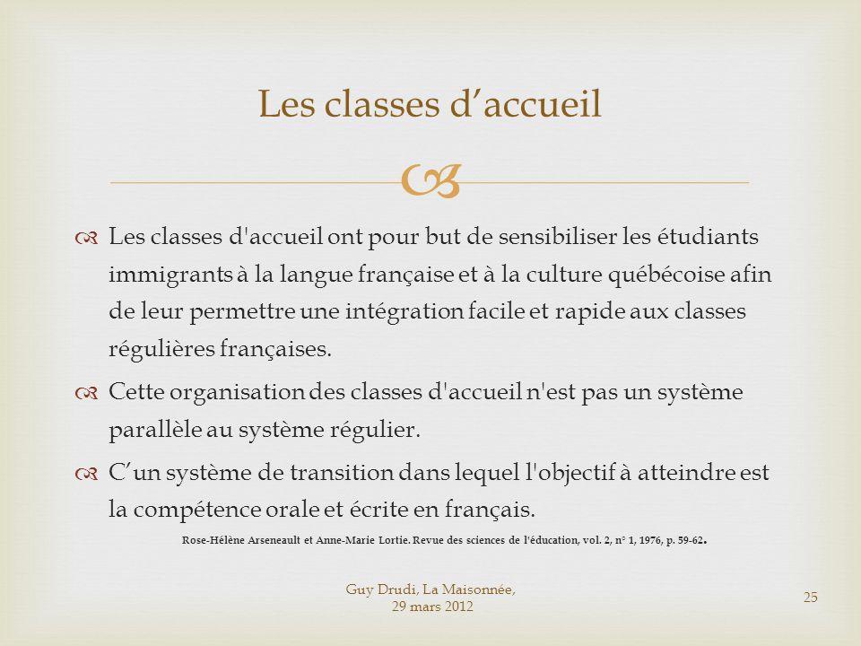 Les classes d'accueil ont pour but de sensibiliser les étudiants immigrants à la langue française et à la culture québécoise afin de leur permettre un