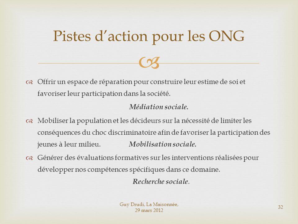 Guy Drudi, La Maisonnée, 29 mars 2012 32 Pistes daction pour les ONG Offrir un espace de réparation pour construire leur estime de soi et favoriser le