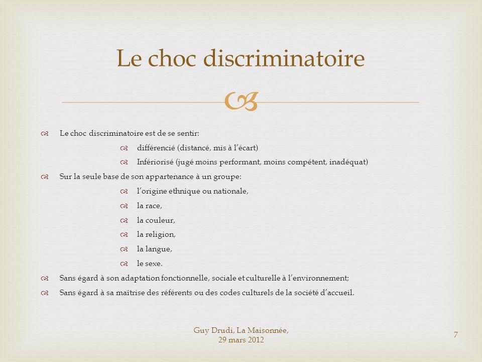 Guy Drudi, La Maisonnée, 29 mars 2012 7 Le choc discriminatoire Le choc discriminatoire est de se sentir: différencié (distancé, mis à lécart) Infério