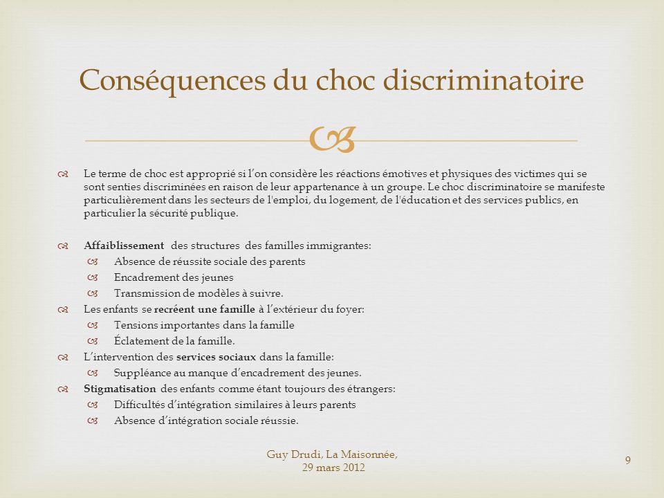 Guy Drudi, La Maisonnée, 29 mars 2012 9 Conséquences du choc discriminatoire Le terme de choc est approprié si lon considère les réactions émotives et