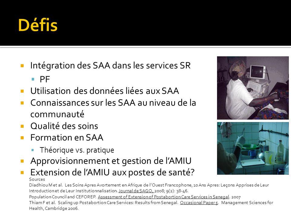 Intégration des SAA dans les services SR PF Utilisation des données liées aux SAA Connaissances sur les SAA au niveau de la communauté Qualité des soins Formation en SAA Théorique vs.