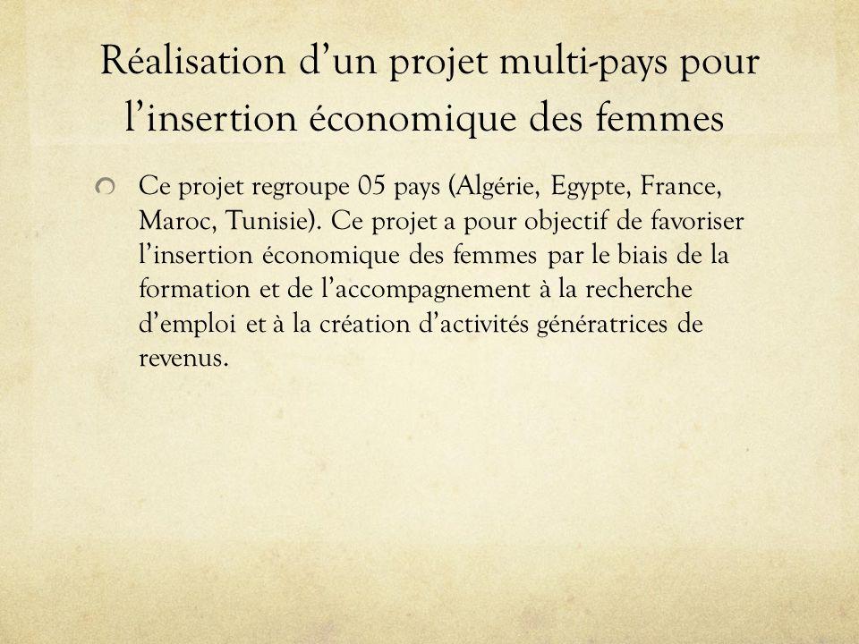Réalisation dun projet multi-pays pour linsertion économique des femmes Ce projet regroupe 05 pays (Algérie, Egypte, France, Maroc, Tunisie). Ce proje