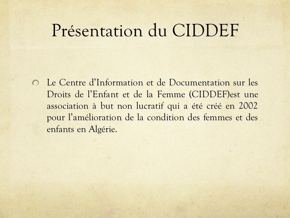 Présentation du CIDDEF Le Centre dInformation et de Documentation sur les Droits de lEnfant et de la Femme (CIDDEF)est une association à but non lucratif qui a été créé en 2002 pour lamélioration de la condition des femmes et des enfants en Algérie.