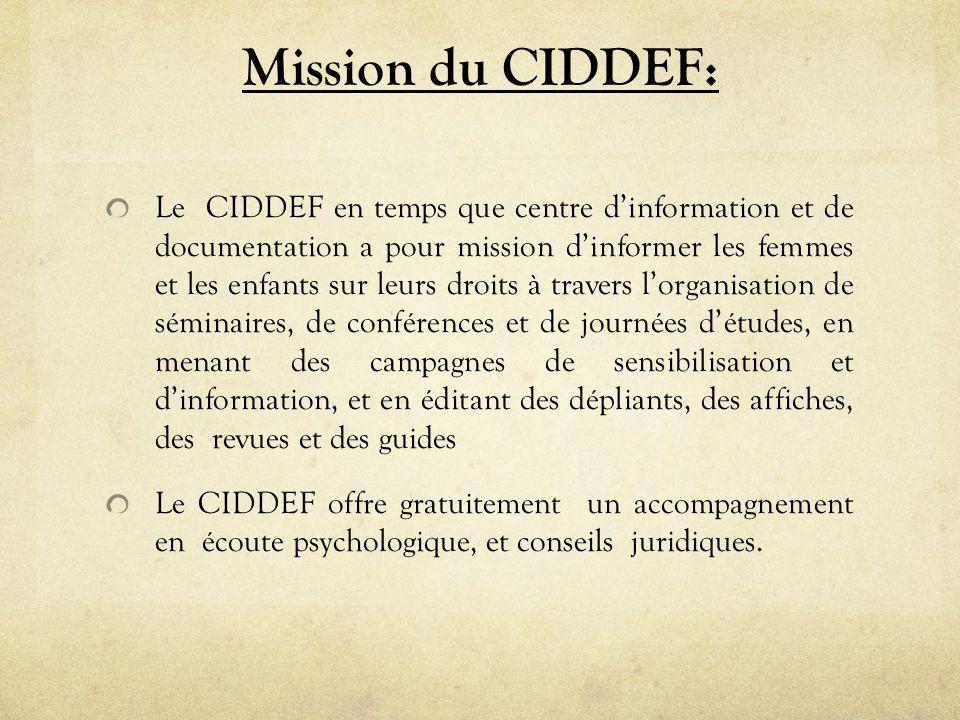 Mission du CIDDEF: Le CIDDEF en temps que centre dinformation et de documentation a pour mission dinformer les femmes et les enfants sur leurs droits à travers lorganisation de séminaires, de conférences et de journées détudes, en menant des campagnes de sensibilisation et dinformation, et en éditant des dépliants, des affiches, des revues et des guides Le CIDDEF offre gratuitement un accompagnement en écoute psychologique, et conseils juridiques.