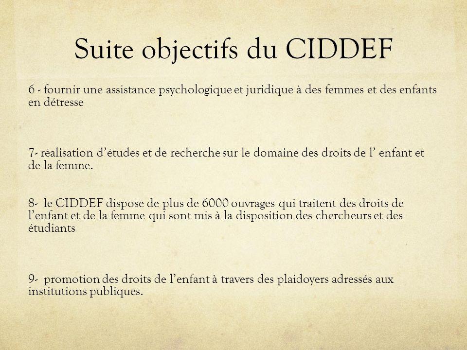 Suite objectifs du CIDDEF 6 - fournir une assistance psychologique et juridique à des femmes et des enfants en détresse 7- réalisation détudes et de r