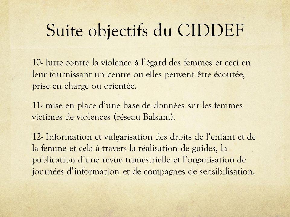 Suite objectifs du CIDDEF 10- lutte contre la violence à légard des femmes et ceci en leur fournissant un centre ou elles peuvent être écoutée, prise en charge ou orientée.