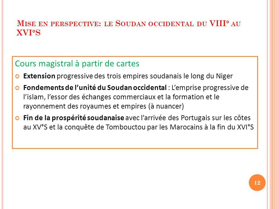 M ISE EN PERSPECTIVE : LE S OUDAN OCCIDENTAL DU VIII° AU XVI°S Cours magistral à partir de cartes Extension progressive des trois empires soudanais le