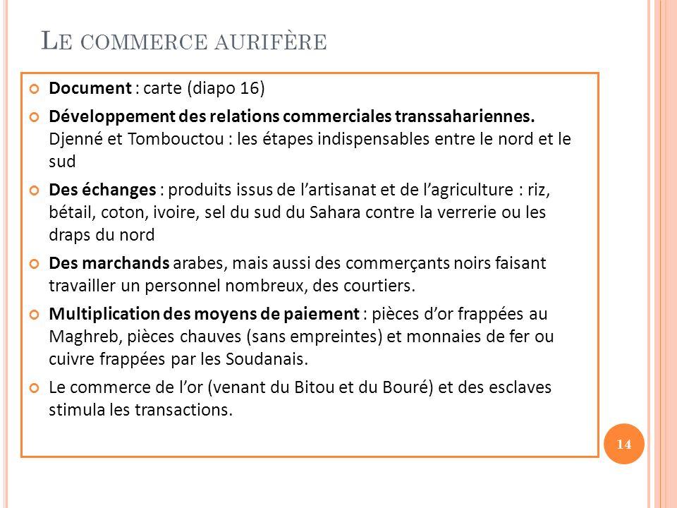 L E COMMERCE AURIFÈRE Document : carte (diapo 16) Développement des relations commerciales transsahariennes. Djenné et Tombouctou : les étapes indispe