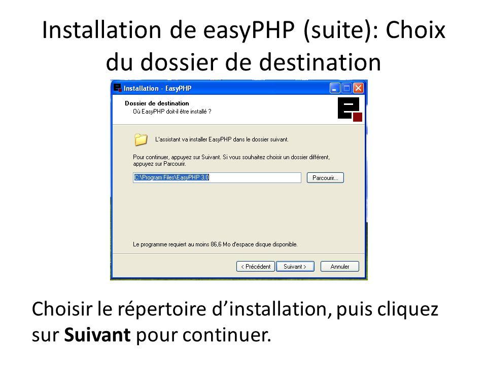 Installation de easyPHP (suite): Choix du dossier de destination Choisir le répertoire dinstallation, puis cliquez sur Suivant pour continuer.