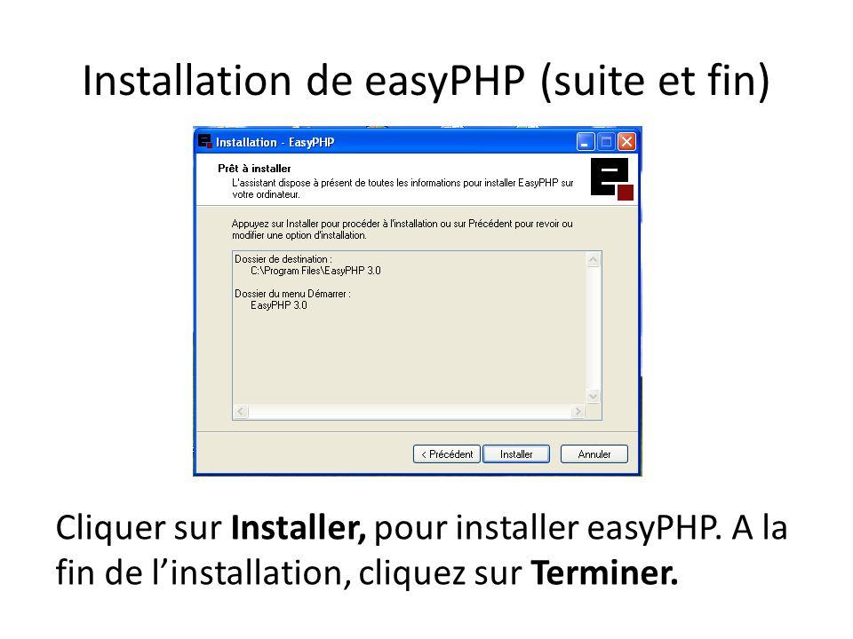 Installation de easyPHP (suite et fin) Cliquer sur Installer, pour installer easyPHP. A la fin de linstallation, cliquez sur Terminer.