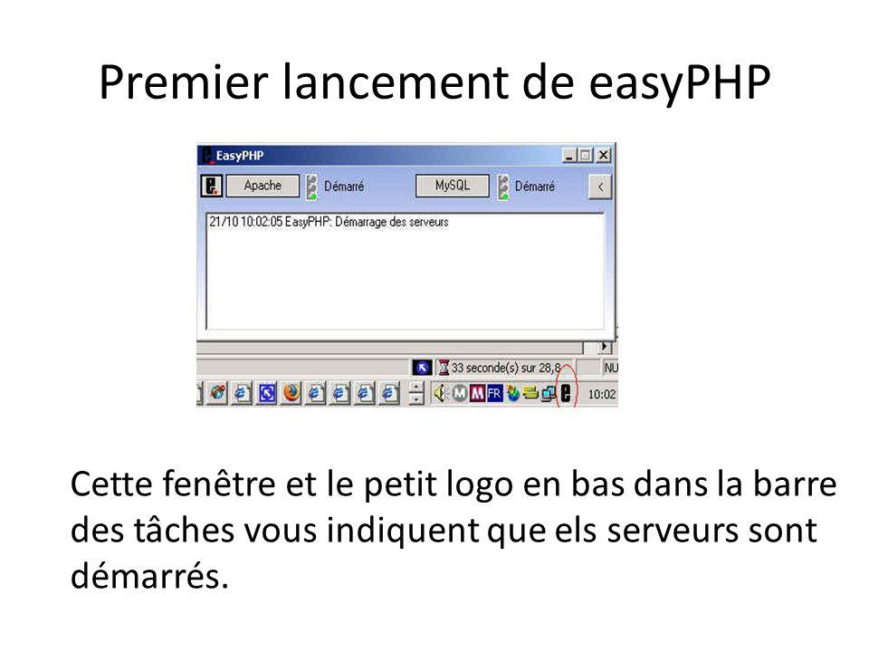 Premier lancement de easyPHP Cette fenêtre et le petit logo en bas dans la barre des tâches vous indiquent que els serveurs sont démarrés.