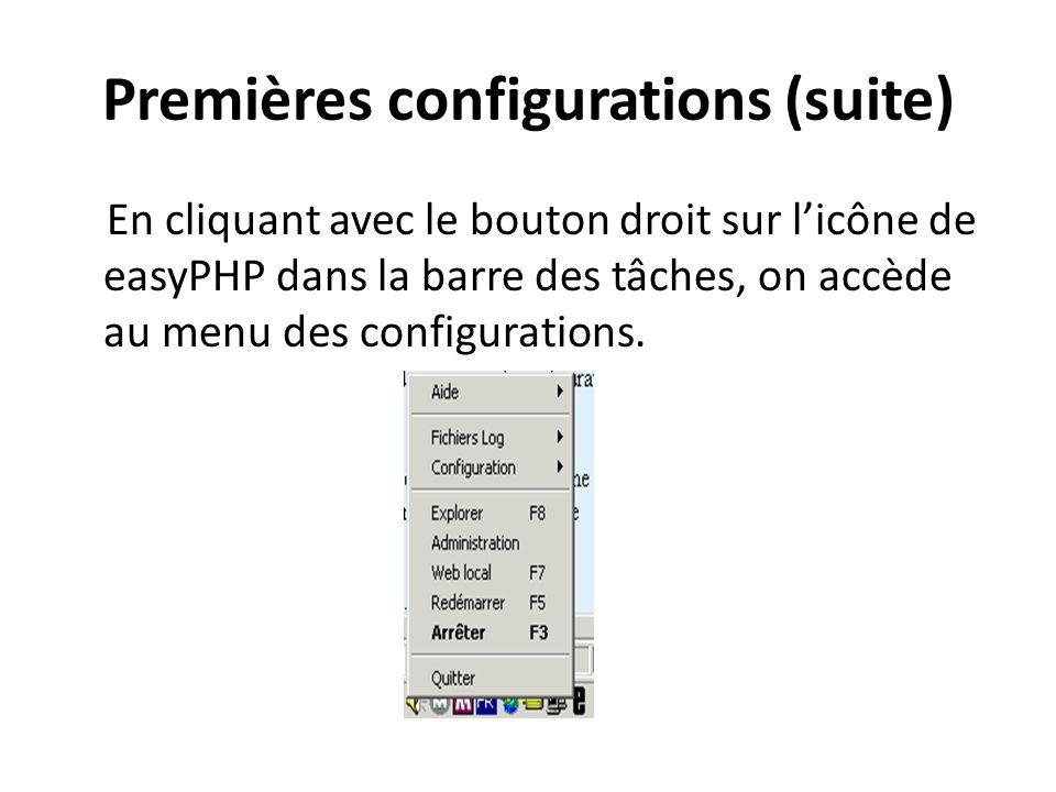 Premières configurations (suite) En cliquant avec le bouton droit sur licône de easyPHP dans la barre des tâches, on accède au menu des configurations