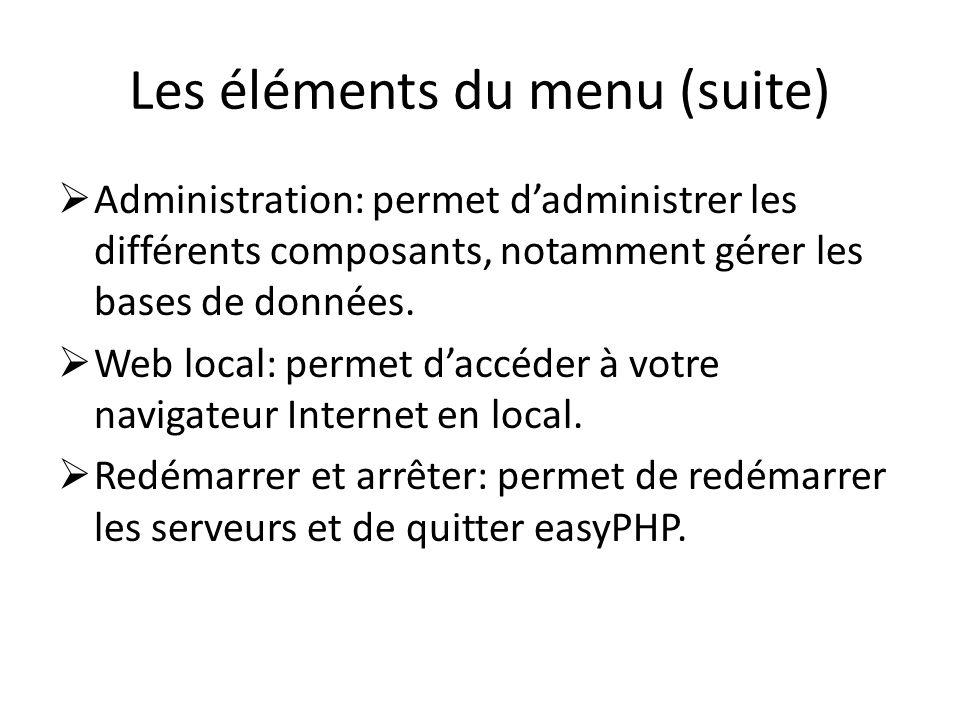 Les éléments du menu (suite) Administration: permet dadministrer les différents composants, notamment gérer les bases de données. Web local: permet da