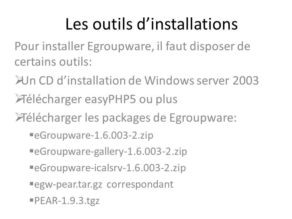 Les outils dinstallations Pour installer Egroupware, il faut disposer de certains outils: Un CD dinstallation de Windows server 2003 Télécharger easyP