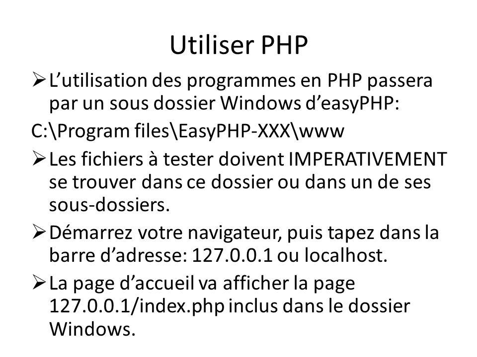 Utiliser PHP Lutilisation des programmes en PHP passera par un sous dossier Windows deasyPHP: C:\Program files\EasyPHP-XXX\www Les fichiers à tester d