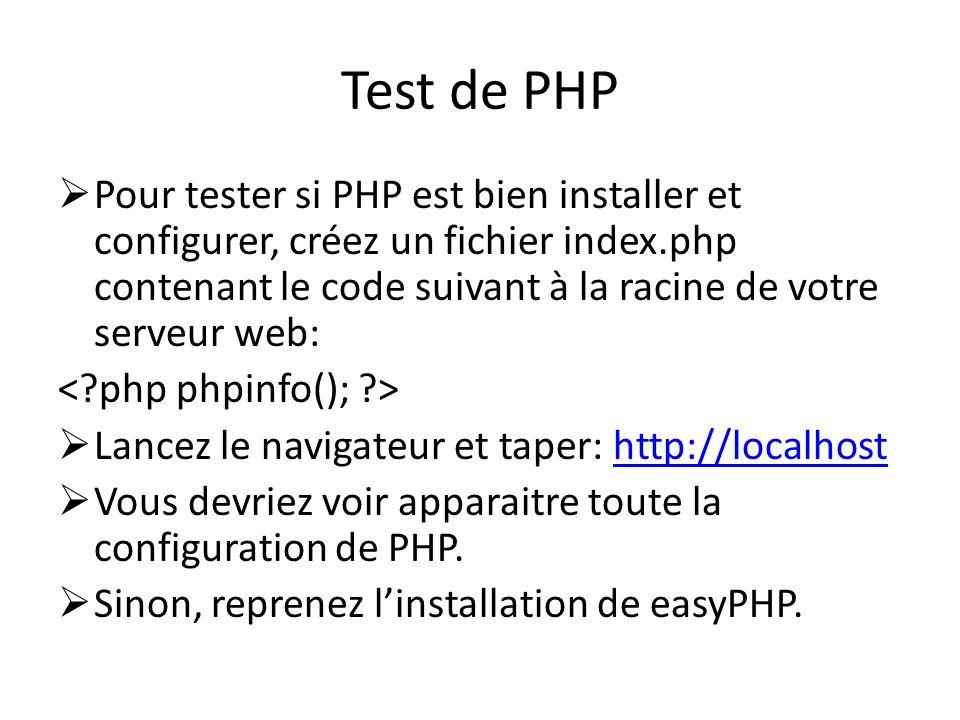 Test de PHP Pour tester si PHP est bien installer et configurer, créez un fichier index.php contenant le code suivant à la racine de votre serveur web