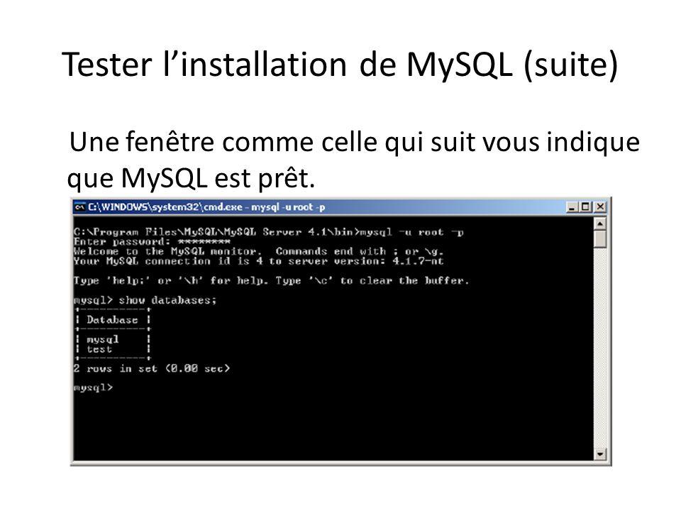 Tester linstallation de MySQL (suite) Une fenêtre comme celle qui suit vous indique que MySQL est prêt.