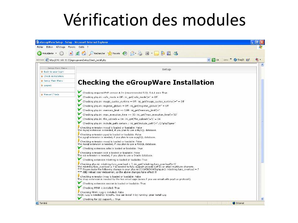Vérification des modules
