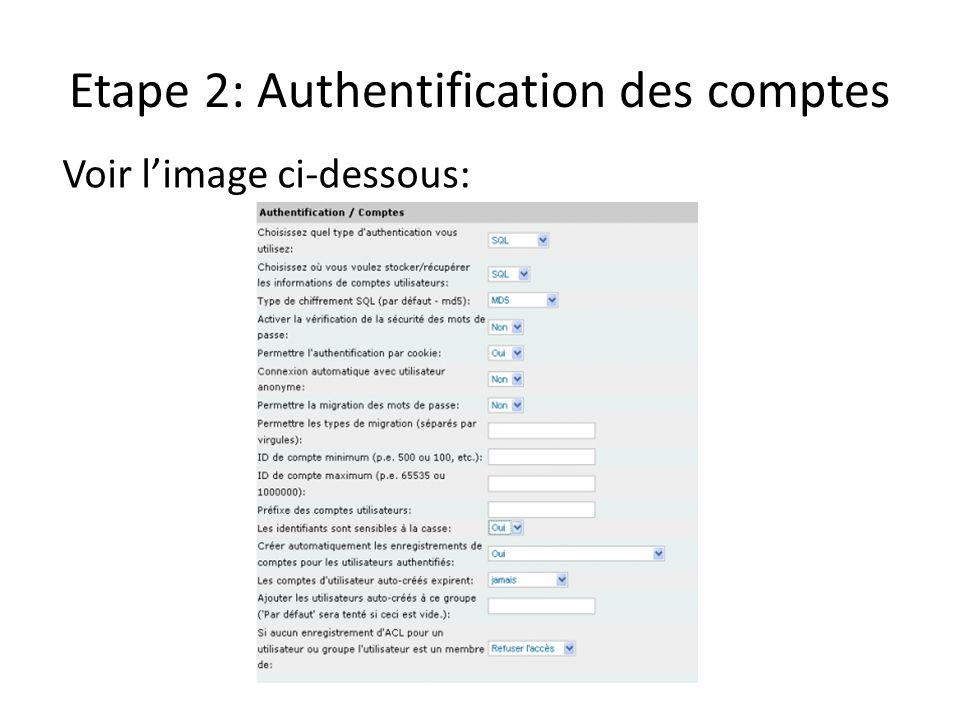 Etape 2: Authentification des comptes Voir limage ci-dessous: