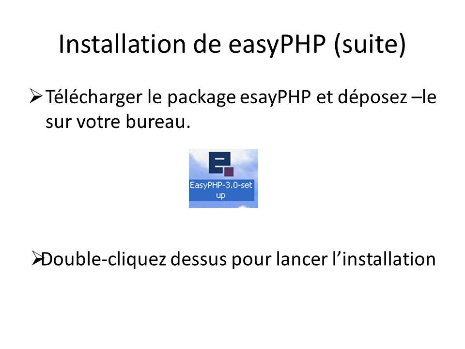 Installation de easyPHP (suite) Télécharger le package esayPHP et déposez –le sur votre bureau. Double-cliquez dessus pour lancer linstallation