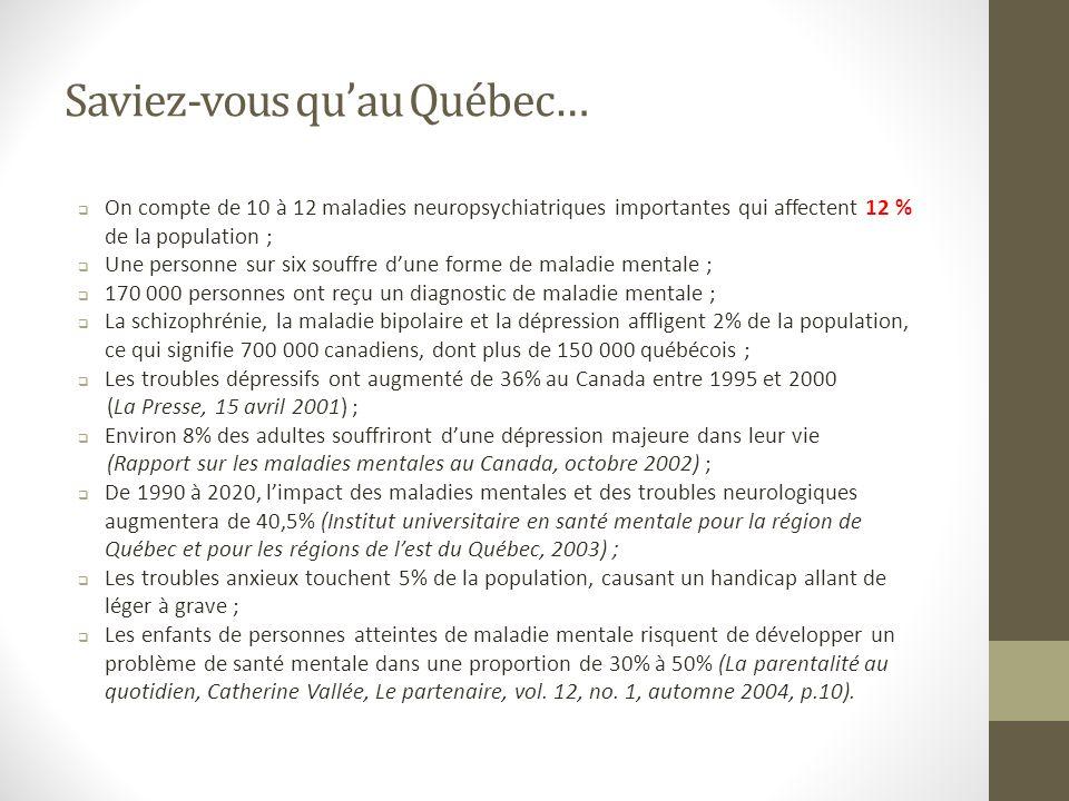 Saviez-vous quau Québec… On compte de 10 à 12 maladies neuropsychiatriques importantes qui affectent 12 % de la population ; Une personne sur six souffre dune forme de maladie mentale ; 170 000 personnes ont reçu un diagnostic de maladie mentale ; La schizophrénie, la maladie bipolaire et la dépression affligent 2% de la population, ce qui signifie 700 000 canadiens, dont plus de 150 000 québécois ; Les troubles dépressifs ont augmenté de 36% au Canada entre 1995 et 2000 (La Presse, 15 avril 2001) ; Environ 8% des adultes souffriront dune dépression majeure dans leur vie (Rapport sur les maladies mentales au Canada, octobre 2002) ; De 1990 à 2020, limpact des maladies mentales et des troubles neurologiques augmentera de 40,5% (Institut universitaire en santé mentale pour la région de Québec et pour les régions de lest du Québec, 2003) ; Les troubles anxieux touchent 5% de la population, causant un handicap allant de léger à grave ; Les enfants de personnes atteintes de maladie mentale risquent de développer un problème de santé mentale dans une proportion de 30% à 50% (La parentalité au quotidien, Catherine Vallée, Le partenaire, vol.