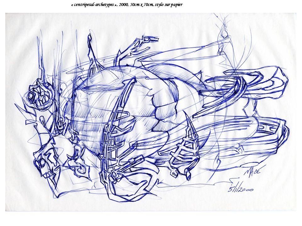 « centripetal-archetypes », 2000, 50cm x 70cm, stylo sur papier
