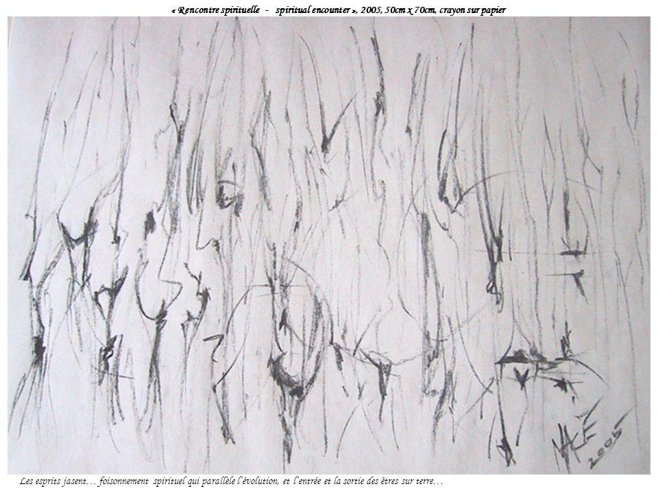« Rencontre spirituelle - spiritual encounter », 2005, 50cm x 70cm, crayon sur papier Les esprits jasent… foisonnement spirituel qui parallèle lévolution, et lentrée et la sortie des êtres sur terre…