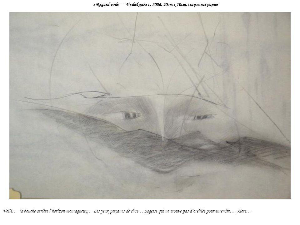 « Regard voilé - Veiled gaze », 2006, 50cm x 70cm, crayon sur papier Voilé… la bouche arrière lhorizon montagneux… Les yeux perçants de chat… Sagesse qui ne trouve pas doreilles pour entendre… Alors…