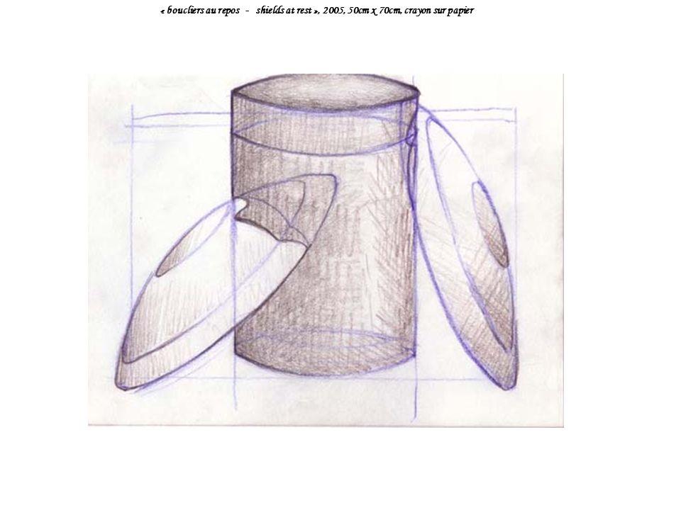 « boucliers au repos - shields at rest », 2005, 50cm x 70cm, crayon sur papier