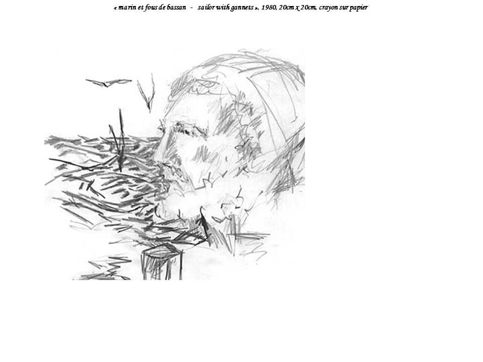 « marin et fous de bassan - sailor with gannets », 1980, 20cm x 20cm, crayon sur papier