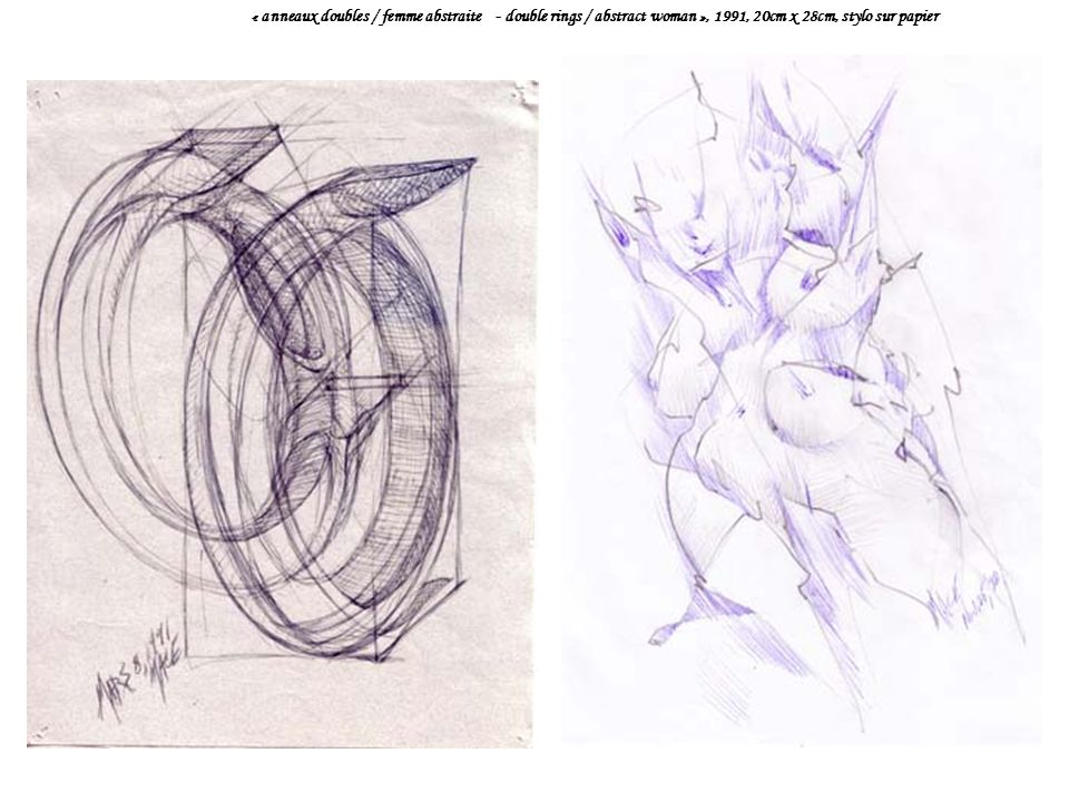 « anneaux doubles / femme abstraite - double rings / abstract woman », 1991, 20cm x 28cm, stylo sur papier