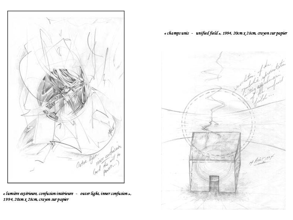 « champs unis - unified field », 1994, 20cm x 28cm, crayon sur papier « lumière extérieure, confusion intérieure - outer light, inner confusion », 1994, 20cm x 28cm, crayon sur papier