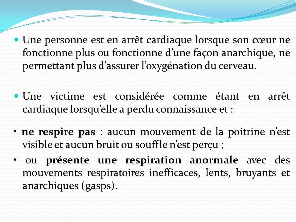 Arrêt cardiaque OBJECTIFS : A la fin de cette partie, vous serez capable de : face à une victime qui présente un arrêt cardiaque, den reconnaître les
