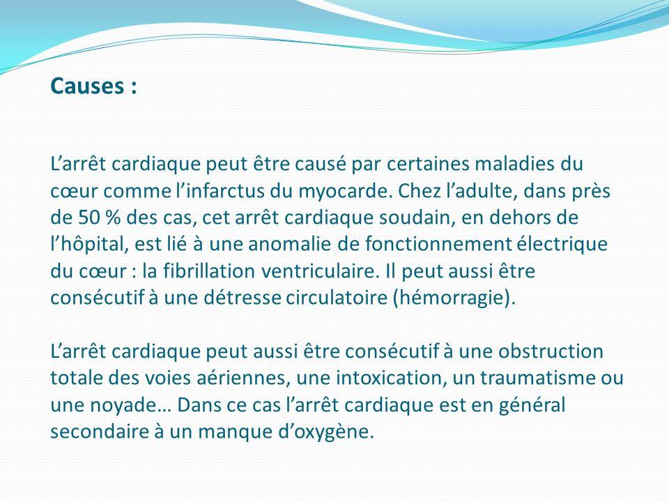 Une personne est en arrêt cardiaque lorsque son cœur ne fonctionne plus ou fonctionne dune façon anarchique, ne permettant plus dassurer loxygénation