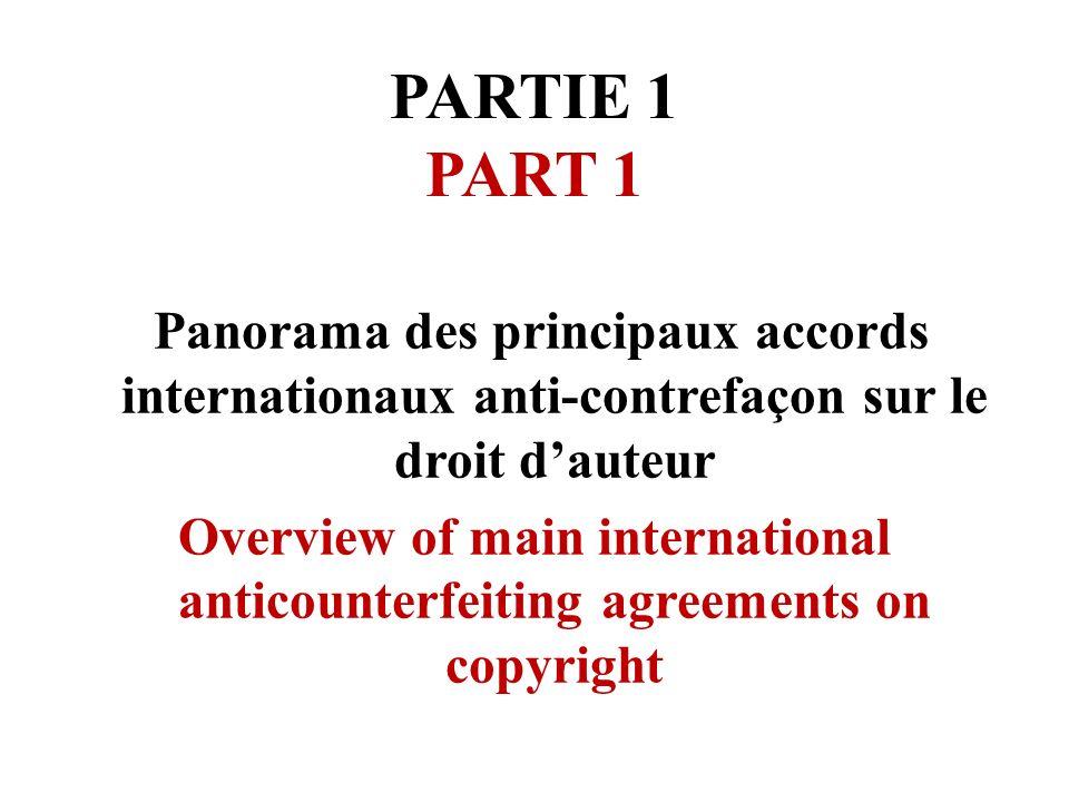 PARTIE 1 PART 1 Panorama des principaux accords internationaux anti-contrefaçon sur le droit dauteur Overview of main international anticounterfeiting