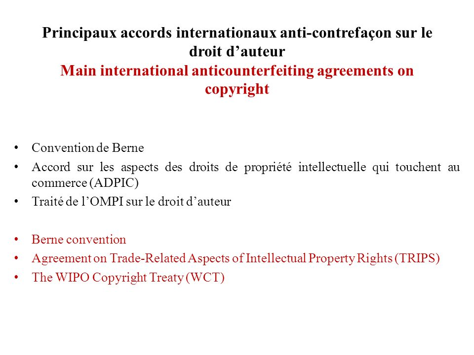 Accord commercial anti-contrefaçon Anti-Counterfeiting Trade Agreement (6/14) 1.1.