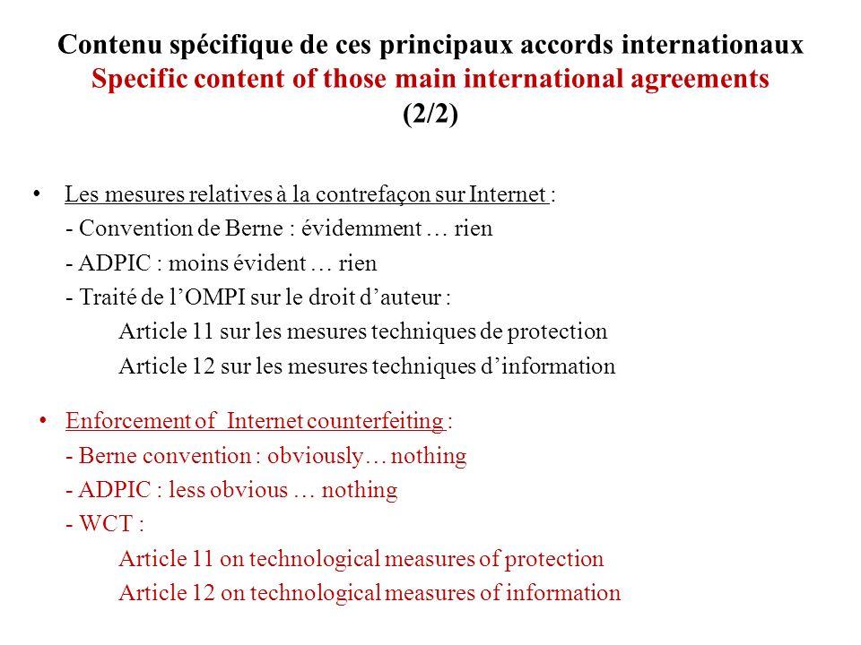 Contenu spécifique de ces principaux accords internationaux Specific content of those main international agreements (2/2) Les mesures relatives à la c