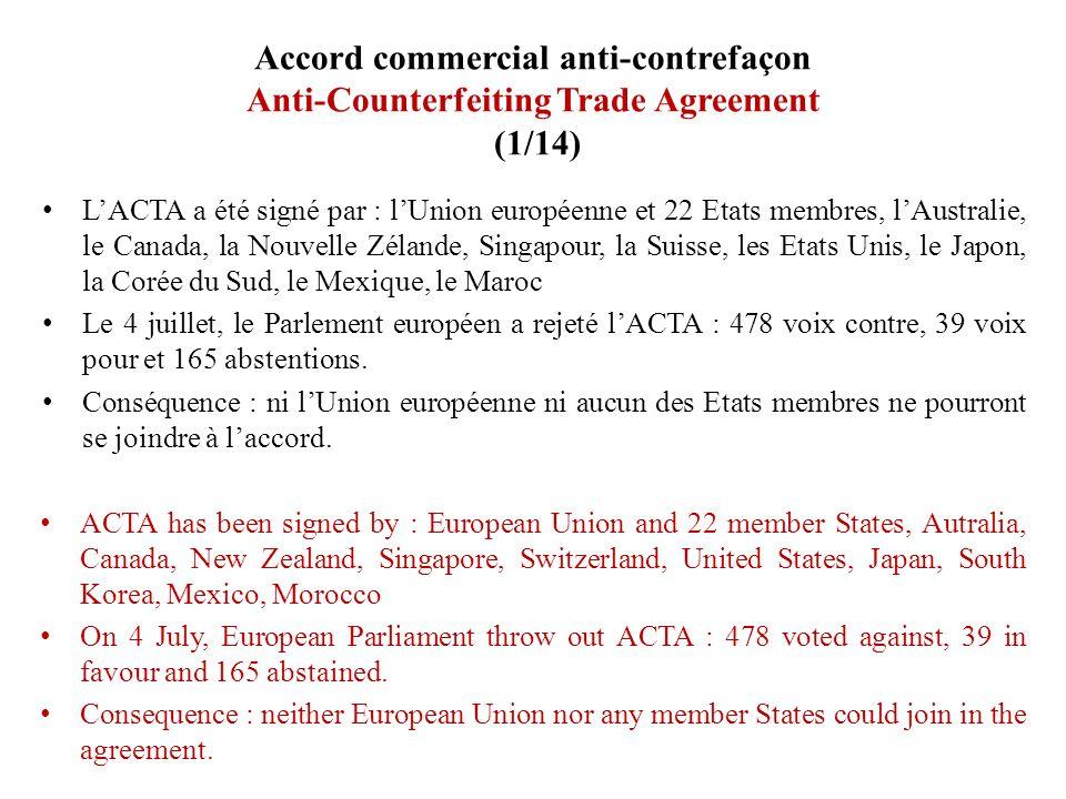 Accord commercial anti-contrefaçon Anti-Counterfeiting Trade Agreement (1/14) LACTA a été signé par : lUnion européenne et 22 Etats membres, lAustrali
