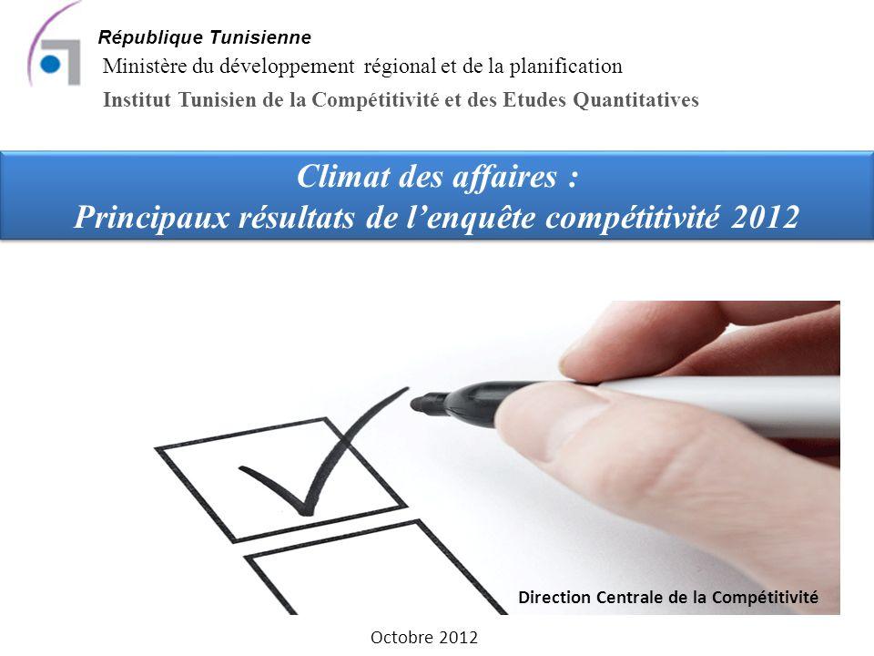 Climat des affaires : Principaux résultats de lenquête compétitivité 2012 République Tunisienne Ministère du développement régional et de la planification Institut Tunisien de la Compétitivité et des Etudes Quantitatives Octobre 2012 Direction Centrale de la Compétitivité