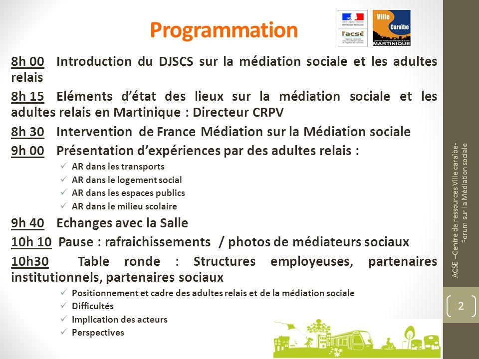 ACSE –Centre de ressources Ville caraïbe- Forum sur la Médiation sociale 2 8h 00 Introduction du DJSCS sur la médiation sociale et les adultes relais