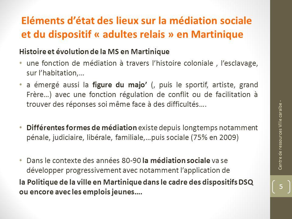 Eléments détat des lieux sur la médiation sociale et du dispositif « adultes relais » en Martinique Histoire et évolution de la MS en Martinique une f