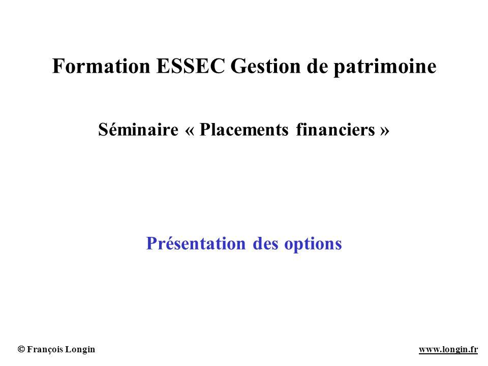 François Longin www.longin.frwww.longin.fr Fonction pay-off pour les options standards (1) Définition La fonction pay-off donne la valeur de loption à la date de maturité (ou à la date dexercice) en fonction de le prix de lactif sous-jacent à cette date.