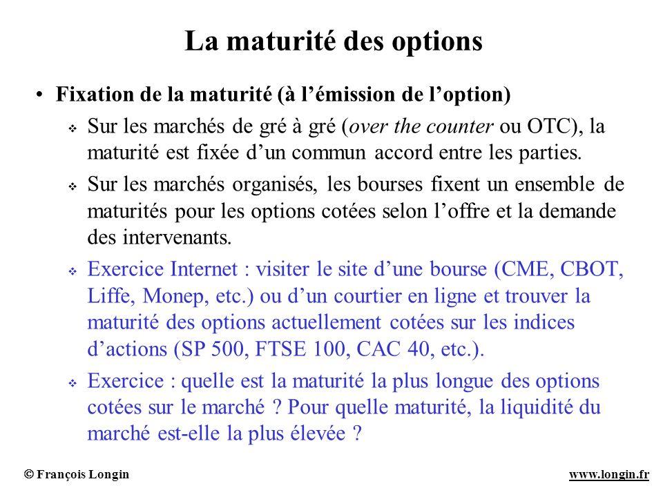 François Longin www.longin.frwww.longin.fr La maturité des options Fixation de la maturité (à lémission de loption) Sur les marchés de gré à gré (over