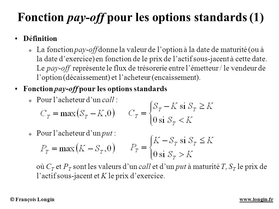 François Longin www.longin.frwww.longin.fr Fonction pay-off pour les options standards (1) Définition La fonction pay-off donne la valeur de loption à