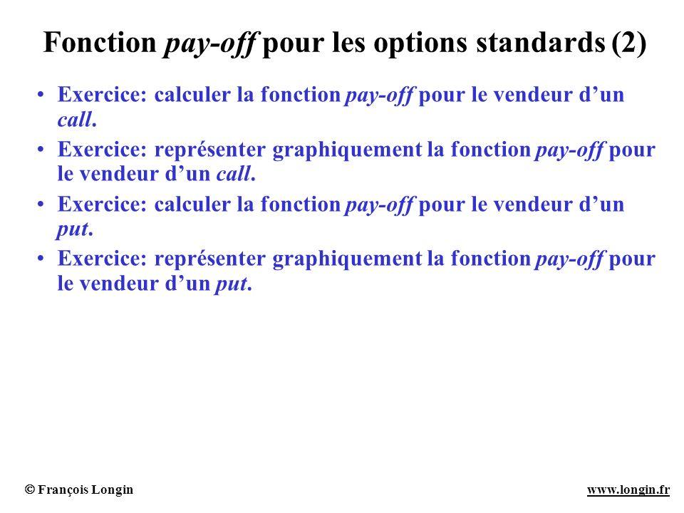 François Longin www.longin.frwww.longin.fr Fonction pay-off pour les options standards (2) Exercice: calculer la fonction pay-off pour le vendeur dun