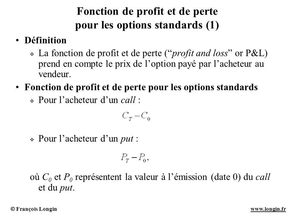 François Longin www.longin.frwww.longin.fr Fonction de profit et de perte pour les options standards (1) Définition La fonction de profit et de perte