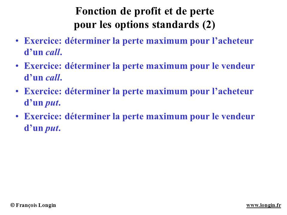 François Longin www.longin.frwww.longin.fr Fonction de profit et de perte pour les options standards (2) Exercice: déterminer la perte maximum pour la